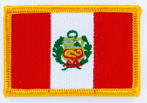 PERU FLAG PATCH BADGE IRON ON NEW EMBROIDERED
