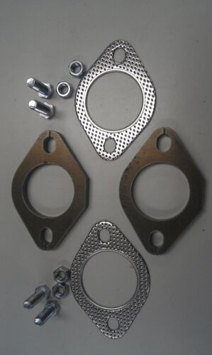 """51mm 2X Plates /& Gaskets 2/"""" Inch 4X Nuts /& Bolts Exhaust Flange Plate Kit"""