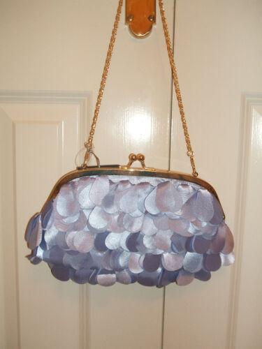 POWDER BLUE SATIN PETAL CLUTCH BAG HANDBAG RRP £12.99 BNWT NEW LOOK LILAC