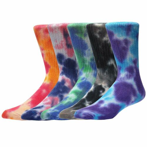 Jormatt 5 Pairs Soft Women Tie-Dye Socks Crew Socks Cute Casual Athletic Socks