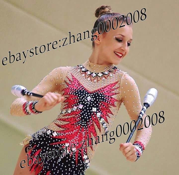Hermosa rítmica Gimnasia Leotardo Traje de competencia de gimnasia batuta aeróbica.