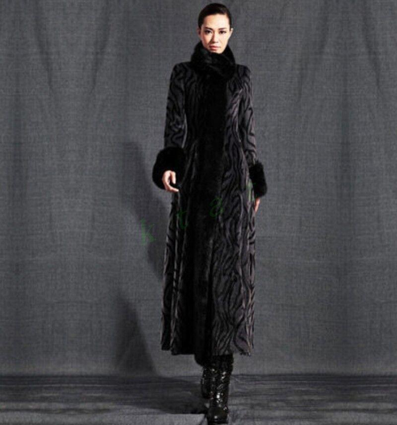 Luxury Womens Winter Long Coat Rabbit Fur Collar Faux Fur Full Length Parka new