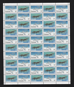 Canada-Full-Pane-of-50-1980-Military-Aircraft-873-874-MNH