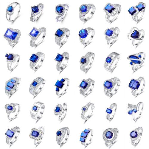 Cuarzo Zafiro /& Topacio Blanco De Boda Azul Mujer Anillo de plata de tamaño 6-9