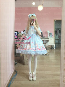 cc08e85a85b55 Details about To Alice Alice in Wonderland Fairytale OP Lolita Dress Half  Sleeve Dolly Dress