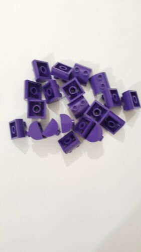 Lego Dark Purple Brick Modified 2x2 supérieure incurvée avec 2 haut Rivets 30165 20 pièces