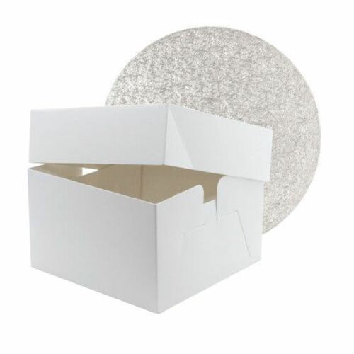 White anniversaire//Celebration Cake Box with Double Thick Cake Board 3 Mm Thick
