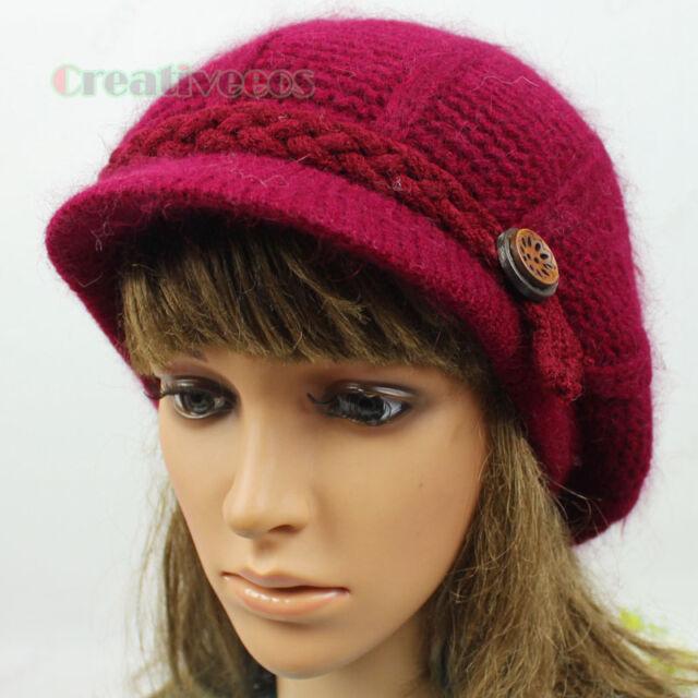 New Chic Visor Beanies Buttons Strap Cap Angora Ski Cap Wool Knit Hat Pom Pom