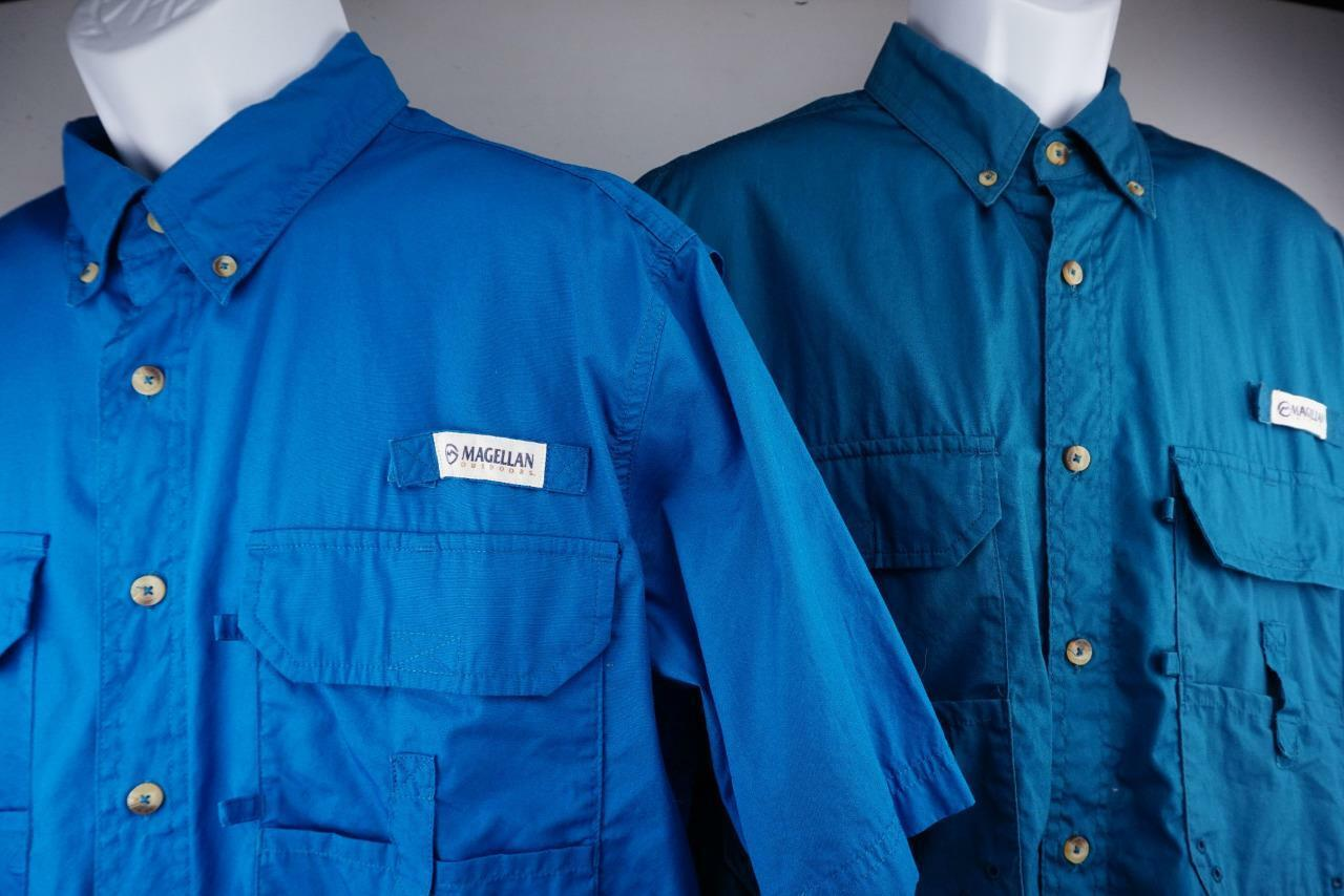 MAGELLAN LOT of 2 Mag Release Fish Gear Button Front Vented Shirts Mens M
