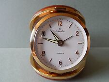 Old Starlet 2 Jewels Travel Wind Up Alarm Clock Red/Brown Working