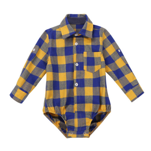 Unisex Boys Girls Lapel Plaid Button-up Shirt Romper Kids Daily Casual Costumes