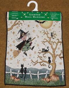 si-la-escoba-apto-para-Halloween-Brujas-Tapiz-bannerette-con-Luces