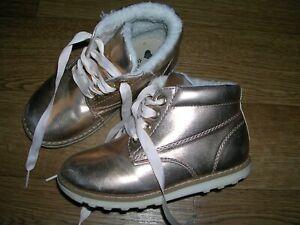 MATALAN Girls Metallic Gold Ankle Boots