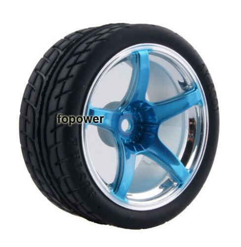4pcs RC Flat Racing Tires Tyre Wheel Rim Fit HSP HPI 1:10 On-Road Car 2060-8003