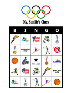 Image Is Loading The Olympics Bingo Personalized Birthday Party Olympic Activity
