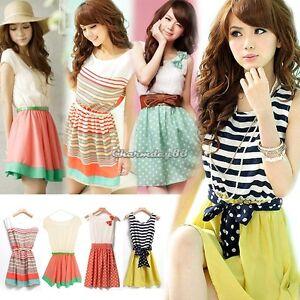 C1MY-Fashion-Womens-Short-Sleeve-Stripe-Casual-Chiffon-Summer-Mini-Dress-New