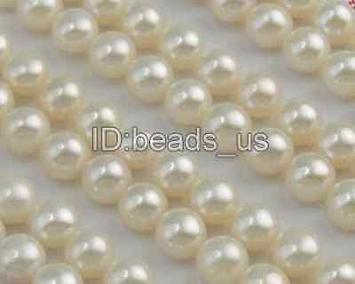 112pcs White Natural Half Drilled Cultured Freshwater button Pearl Beads 6.5mm