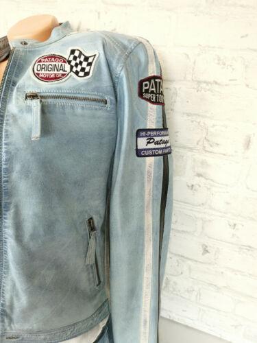 Patago Jeans Lederjacke Jacke Leder Lammnappa blau Vintage Gr 38 40 42 44 46