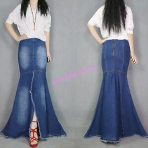 Fashion-Womens-Dress-Washed-Jeans-Casual-Denim-Fish-Tail-Long-Skirt-Full-Length