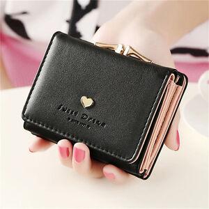 Women-Lady-Clutch-Leather-Short-Wallet-PU-Card-Holder-Handbag-Bag-Purse-Black
