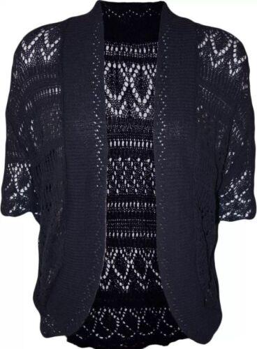 New Ladies Bolero Crochet Cap Sleeves Knitted Short Cardigan Shrug Crop TOP 8-30