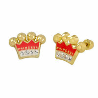10k Yellow Gold Earrings Pink Princess Crown Studs With Screwbacks