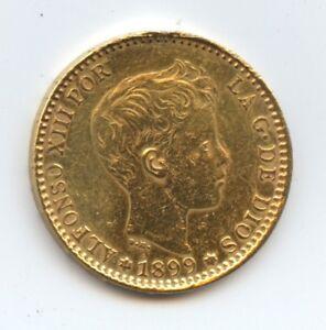 Spain-1899-Gold-20-Pesetas-1141-XF-or-Better-Cleaned-Edge-Issues