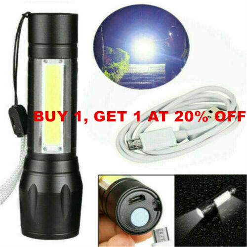 USB Rechargeable Flashlight Police Tactical Zoom Camping Lamp Outdoor LED Torch