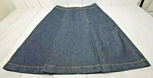 Bisou-Bisou-Denim-Skirt-Size-6-A-Line-Box-Pleat-Dark-Wash-Michelle-Bohbot-EUC