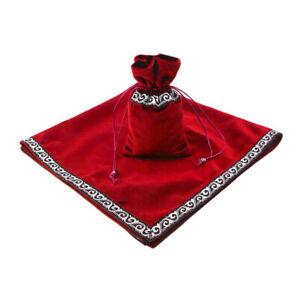 Sparkle Pattern Tarot Cards Bag Velvet Table Cloth Divination Wicca Red