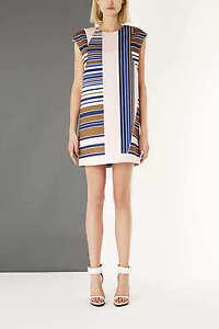 3e71b53d59 Topshop by Unique Silk Pink Striped Satin Stripe Dress UK 10 EURO 38 ...