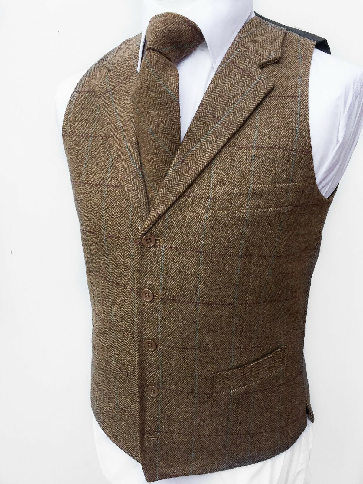 Mens Waistcoat Vest Wool Blend Tweed Wedding Gilet Lloyds Attree Smith Hospitali