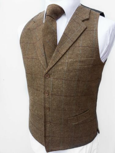 Mens Waistcoat Vest Wool Blend Tweed Wedding Gilet Lloyds Attree Smith Hospitali