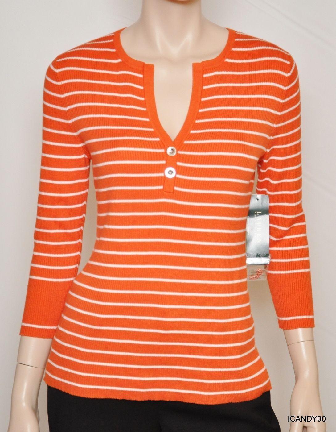 Nwt  Lauren by Ralph Lauren KERWYN Striped Cotton Henley Sweater Top orange L