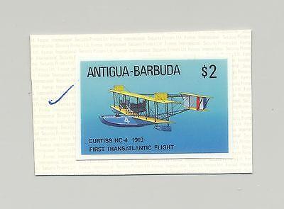 Stamps Caribbean Spirited Antigua #1033 1st Flying Boat Transatlantic Flight 1v Imperf Chromalin Proof