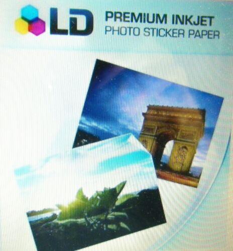 "5 FULL Sheets Sticker Paper GLOSS WHITE STICKERS Inkjet Printer Paper 8.5/"" x 11/"""