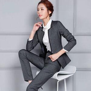 Ladies-Formal-Work-Office-Pant-Suits-OL-Elegant-Slim-Business-Blazer-Trouser-hot