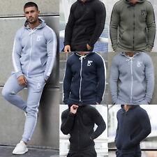 Mens Fleece Hoodie Tracksuit Top Designer Slim Fit Hooded Fitness Gym Zip Hoody