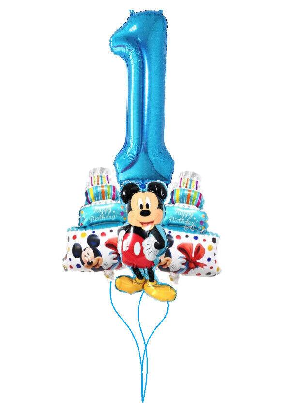 1.Geburtstag Mickey Mouse Folien Luft Ballon Zahl 1 Blau Junge Kinder Geburtstag