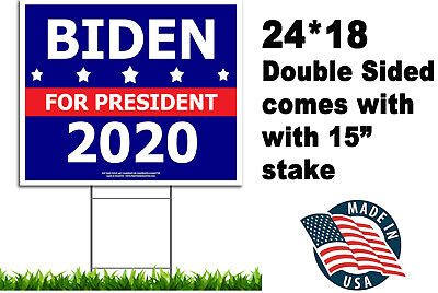 Political Campaign Yard Sign w//Stake Donald Trump 2020 Double-Sided 24 x 18