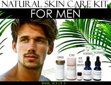 Natural Skin Care Kit For Men, Oily Skin, Large Pores, and Acne Basic Set of 5