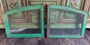 2-Reclaimed-timber-framed-Glass-Wooden-arch-Window-prop-wedding-plan-wall-decor