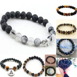 Men-Women-Natural-Stone-8mm-Lava-Rock-Bracelet-Elastic-Yoga-Beads-Bracelet-Wrist