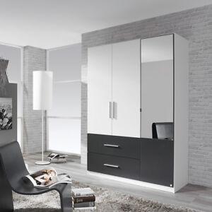Details zu Kleiderschrank Alvor Schrank für Schlafzimmer weiß grau metallic  Spiegel 136 cm
