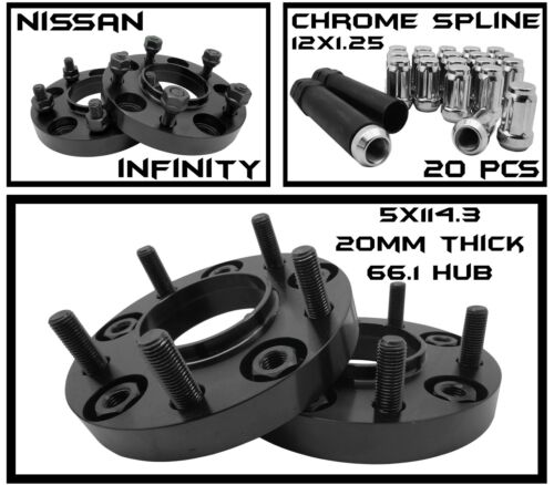 Infinity G35 G37 20mm Hubcentric Wheel Spacers 20 12x1.25 Chrome Spline Lug Nut