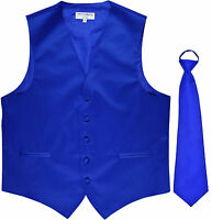 New Men's Formal Tuxedo Vest Waistcoat ready knot Necktie solid royal blue prom
