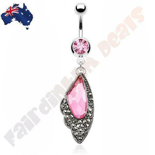 Surgical Steel Belly Ring with Multi Pink Gem Hermatite Vintage Wing Dangle