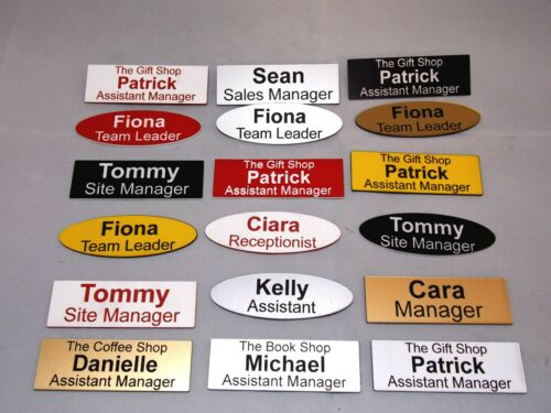 shops clubs pub schools offices medical etc. 20 x Quality Engraved Name Badges