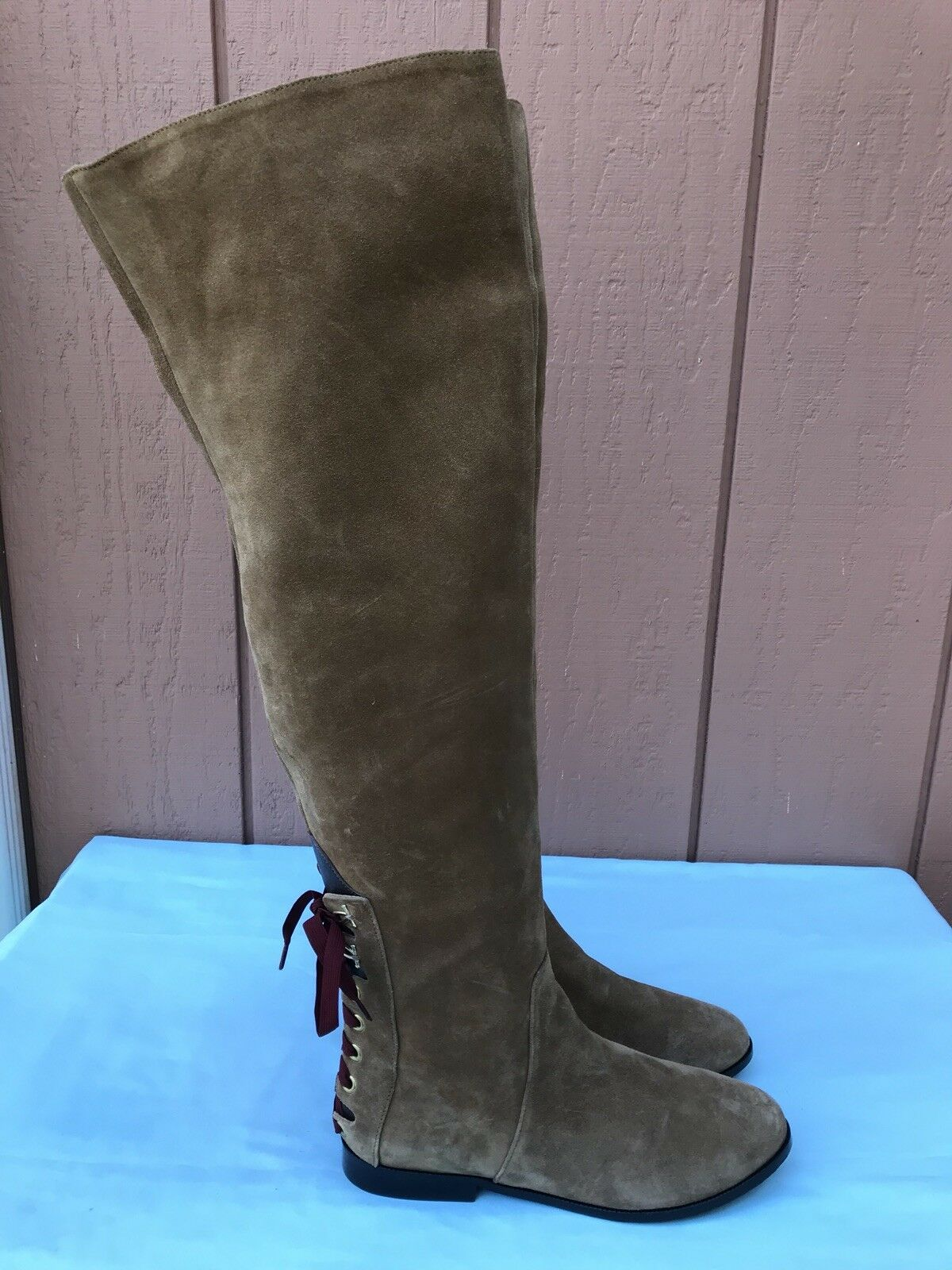 1195 NEW Sonia Rykiel Brown Suede 20  Over The Knee Fashion Boots A9 RARE