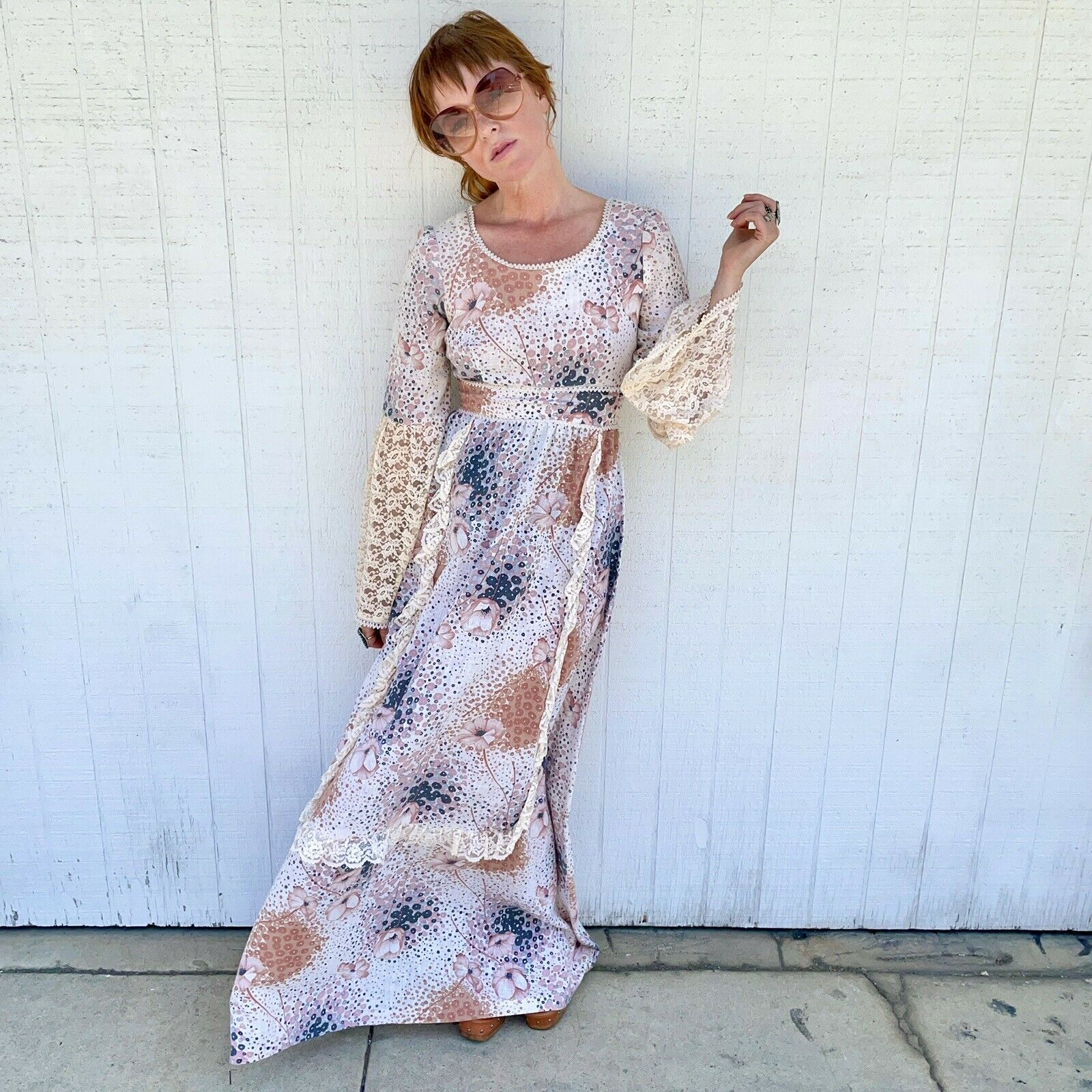 Vintage 70s Floral Maxi Dress Lace Sleeves Fairyc… - image 2